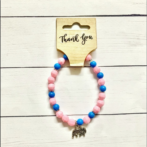 Hot New Girls Pink/Blue Beaded Bracelet with Charm